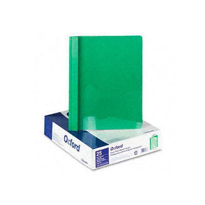 Clear Front Report Covers With Green Leatherette Back, 25 Per Box