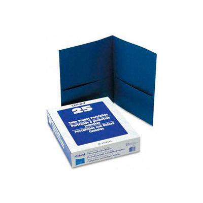 Twin Pocket Leatherette-Grained Portfolios, Royal Blue, 25/Box