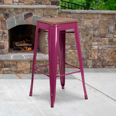 """Flash Furniture 30""""H Backless Purple Barstool with Square Wood Seat"""