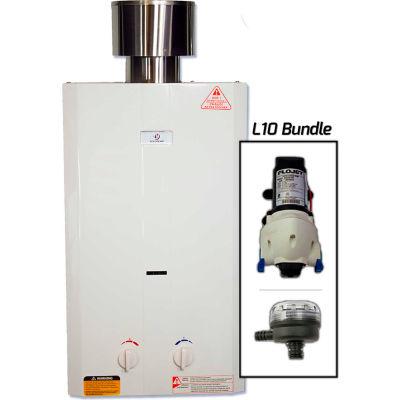 Eccotemp L10 Outdoor Tankless Water Heater W/ Flojet Pump & Strainer - 20kW, 2.65 GPM