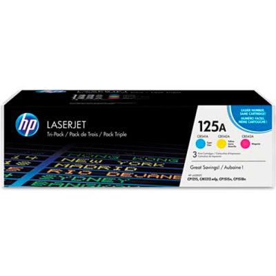 HP® HP 125A, (CE259A) 3-pack Cyan/Yellow/Magenta Original LaserJet Toner Cartridges