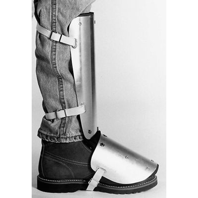 "Ellwood Safety Shin-Instep Guards, Web Straps, Aluminum Alloy, 14""L x 5""W, 1 Pair"