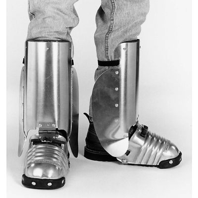 """Ellwood Safety Foot-Shin Guards W/Side Shield, Steel Toe Clip, Rubber Strap, 5-1/2""""W, Large, 1 Pair"""