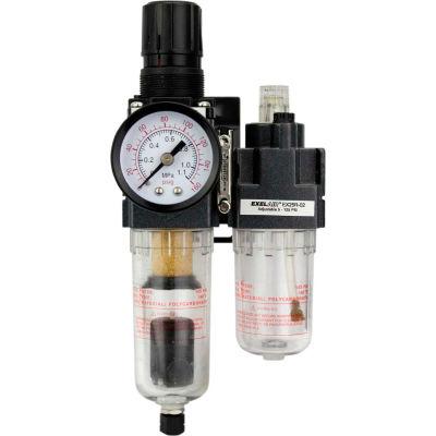 "Exelair EX25PBL40A-02P Mini Filter/Regulator/Lubricator Poly. Bowl 1/4"" NPT 145 PSI 40 Micron"