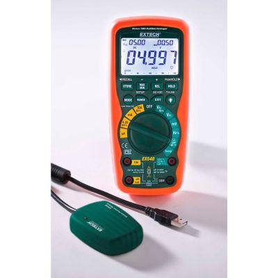 Extech EX540-NIST Wireless True RMS Industrial MultiMeter/Datalogger, Orange/Green NIST Certified