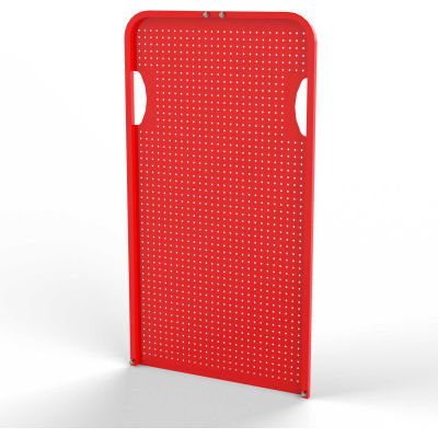 Valley Craft Round-Peg Pegboard End Panel F89536 for Modular A-Frame Bin Cart, Red