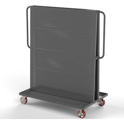 "Valley Craft Modular A-Frame Bin Cart F89546 w/2 Round-Peg Pegboard Panels 48""W x 30""D x 62""H, Gray"