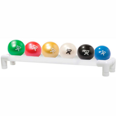 CanDo® WaTE™ Hand-held Weighted Ball with 1-Tier PVC Rack, 6 Color Set