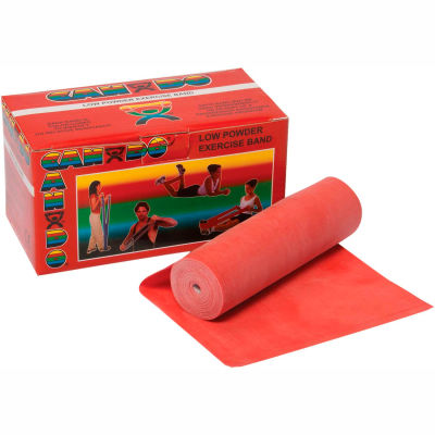 CanDo® Low Powder Exercise Band, Red, 6 Yard Roll, 1 Roll/Box