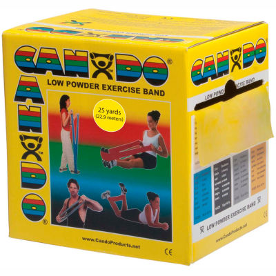 CanDo® Low Powder Exercise Band, Yellow, 25 Yard Roll, 1 Roll/Box