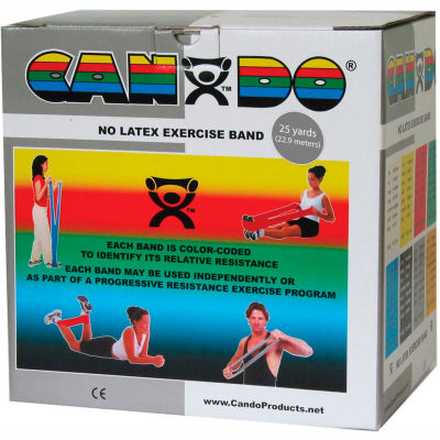 CanDo® Latex-Free Exercise Band, Silver, 25 Yard Roll, 1 Roll/Box