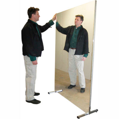 "Ultra-Safe™ Glassless Mirror, Stationary with Stand, Vertical, 60""W x 72""H"