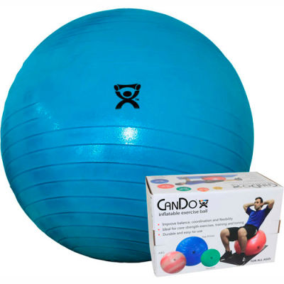 """CanDo® Deluxe ABS Inflatable Exercise Ball, Extra Thick, Blue, 85 cm (34"""")"""