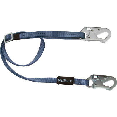 FallTech® 8209 4' to 6' Restraint Lanyard, Adjustable Single Leg, with 2 Snap Hooks