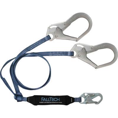 FallTech® 826073 ViewPack 6' Shock Absorbing Lanyard, Y-leg, with 1 Snap & 2 Rebar Hooks
