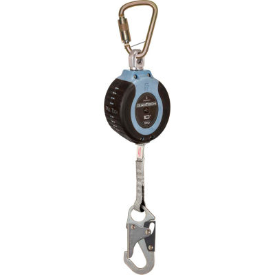 FallTech® 82710SC1 DuraTech 10' Compact Web SRD, with Steel Carabiner and Steel Snap Hook