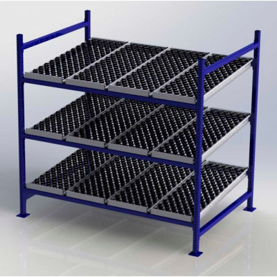 "UNEX FC99SW72483-S Flow Cell Heavy Duty Gravity Rack w/ wheelbed Starter,3 Level, 72""W x 48""D x 72""H"