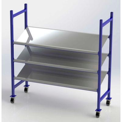 "UNEX FCMTPS76283 Flow Cell Mobile Pick Tray Rack, 3 Tilted Steel Shelves, 76""W x 28""D x 72""H"
