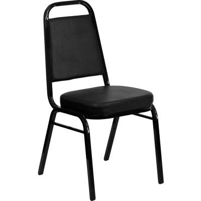"Flash Furniture Banquet Stacking Chair - Vinyl - 2-1/2"" Seat Cushion - Black - Pkg Qty 4"