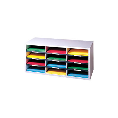 Fellowes®  12-Section Compartment Sorter, Melamine Laminated, Dove Gray