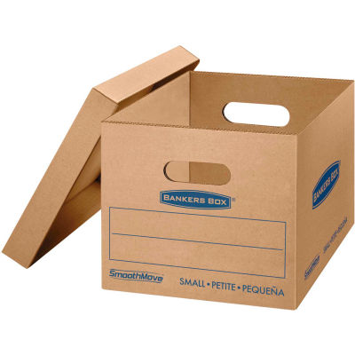 """Bankers Box® SmoothMove Classic Small Moving Boxes, 15""""L x 12""""W x 10""""H, Kraft/Blue, 10/CTN"""