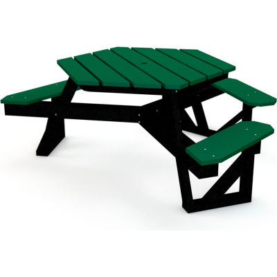 Frog Furnishings Recycled Plastic 6 ft. Hex Table Black Frame, ADA, Green