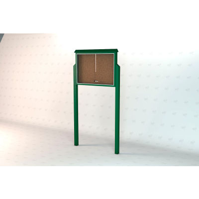 """Frog Furnishings Large Message Center, Recycled Plastic, Two Sides, Two Posts, Green, 51""""W x 36""""H"""