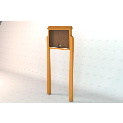 "Frog Furnishings Medium Message Center, Recycled Plastic, One Side, Two Posts, Cedar, 36""W x 26""H"