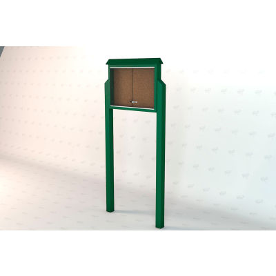 """Frog Furnishings Medium Message Center, Recycled Plastic, One Side, Two Posts, Green, 36""""W x 26""""H"""