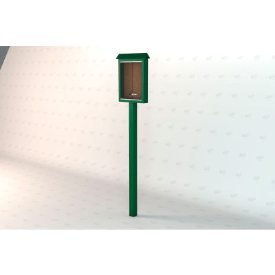 "Frog Furnishings Small Message Center, Recycled Plastic, One Side, One Posts, Green, 26""W x 20""H"