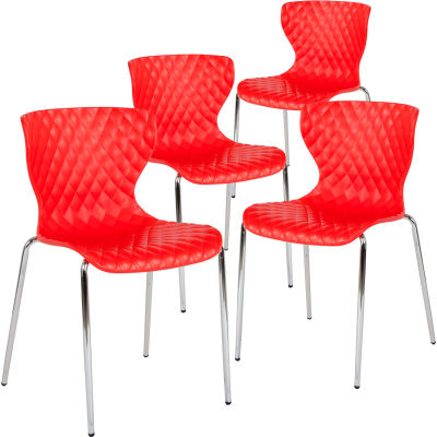 Flash Furniture Plastic Stack Chair - Lowell Contemporary Design - Red  - 4 per Pack