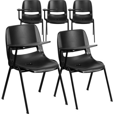 Flash Furniture Ergonomic Shell Chair - Right Handed Tablet Arm - Black - 5 per Pack