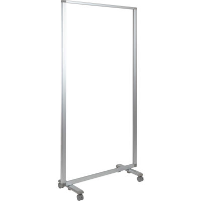"""Flash Furniture Transparent Acrylic Mobile Partition with Lockable Casters - 35-1/2""""W x 72""""H"""