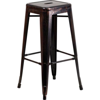 Flash Furniture 30'' Backless Barstool - Metal - Square - Black/Antique Gold
