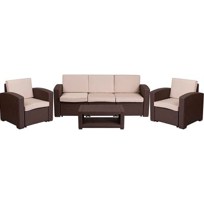 Flash Furniture 4-Piece Outdoor Patio Sofa Set - Faux Rattan - Chocolate Brown with Beige Cushions