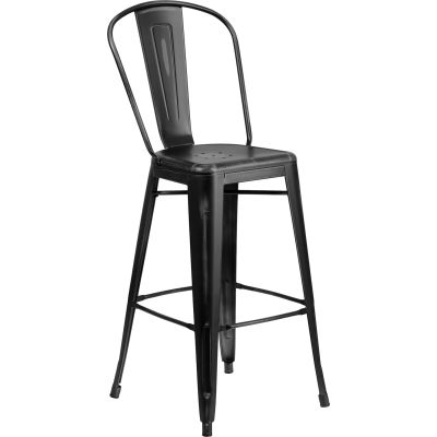 """Flash Furniture 30"""" High Distressed Metal Indoor-Outdoor Counter Height Stool with Back - Black"""
