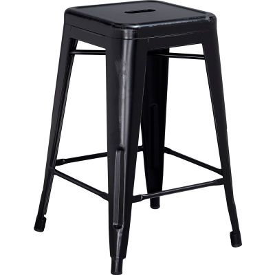 Flash Furniture 24'' Backless Counter-Height Stool - Metal - Square - Distressed Black