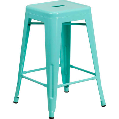 """Flash Furniture 24""""H Backless Counter-Height Stool - Metal - Square - Mint Green"""