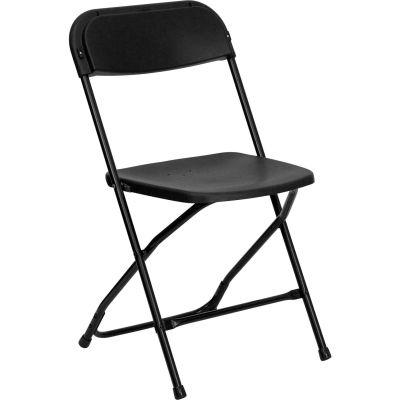 Flash Furniture Plastic Folding Chair - Black - Pkg Qty 10
