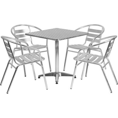 Flash Furniture Square Aluminum Outdoor Dining Table Set with 4 Slat-Back Chairs