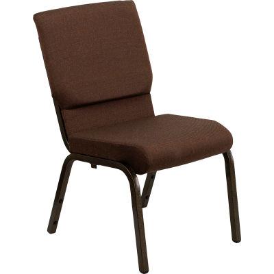 Flash Furniture 18.5''W Stacking Church Chair - Fabric - Brown - Hercules Series