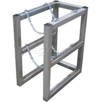 """Stainless Steel Cylinder Tube Rack, 1 Wide x 2 Deep, 16""""W x 26""""D x 30""""H,2 Cylinder Cap."""