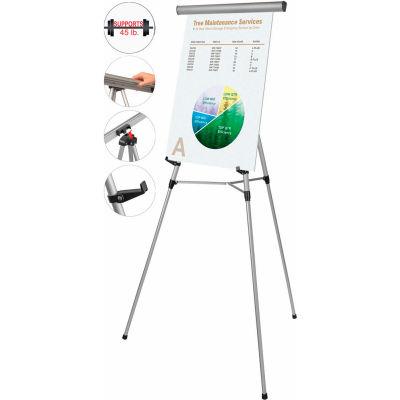 MasterVision 3-Leg Heavy-Duty Telescoping Display Easel, Silver