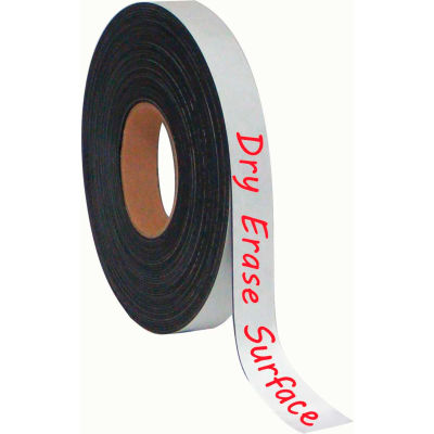 """MasterVision Dry-Erase Magnetic Tape Rolls, Write-on wipe-off, White, 1"""" x 50 ft."""