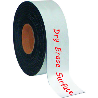 """MasterVision Dry-Erase Magnetic Tape Rolls, Write-on wipe-off, White, 2"""" x 50 ft."""