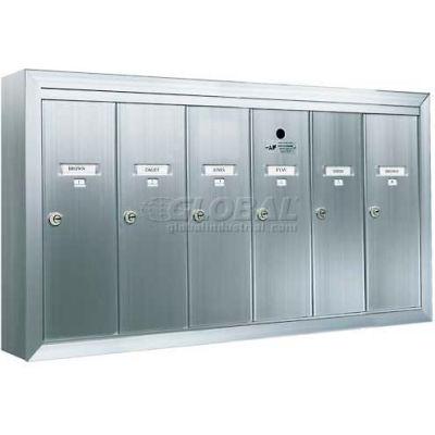 Surface Mount Vertical 1250 Series, 6 Door Mailbox, Anodized Aluminum