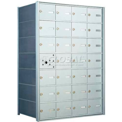 1400 Series Front Loading Horizontal Wall-Mounted Mailbox, 27 Compartments, Anodized Aluminum