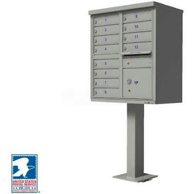 Vital Cluster Box Unit, 12 Mailboxes, 1 Parcel Locker, Postal Grey