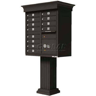 Vital Cluster Box Unit w/Vogue Classic Accessories, 12 Unit & 1 Parcel Locker, Dark Bronze