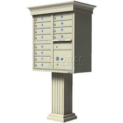 Vital Cluster Box Unit w/Vogue Classic Accessories, 12 Unit & 1 Parcel Locker, Sandstone